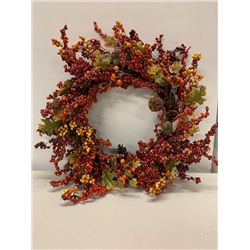 Gold, Orange, and Red Holiday Wreath w/ Berries & Pine Cones