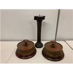 3 Large Misc. Candleholders