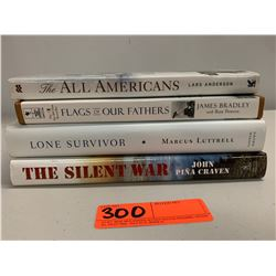 4 Books: Misc. The All Americans, Flags of Our Fathers, Lone Survivor, The Silent War