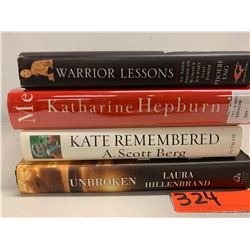 4 Books: Katherine Hepburn, Laura Hillenbrand, Warrior Lessons (autographed), Kate Remembered
