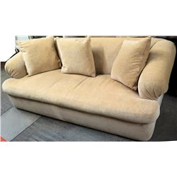 "Plush Beige Sofa w/ 3 Throw Pillows 90""L x 40""D x 30""H"