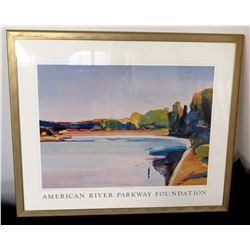 "Gold Framed American River Parkway Foundation Signed Art 24"" x 21"""