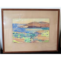 "Wood Framed & Matted Ocean Scene Signed by Artist 33"" x 26"""