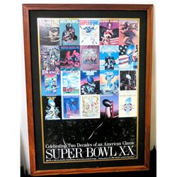 "Framed Collage - Super Bowl XX, Two Decades  31"" x 42"""