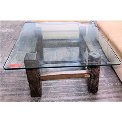 Square Glass Coffee Table w/ Carved Wooden Base