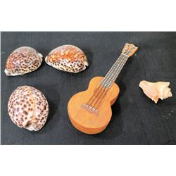 Qty 4 Natural Seashells & Ukulele Trinket Box