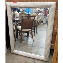 "Large White-Framed Wall Mirror 37"" x 48"""