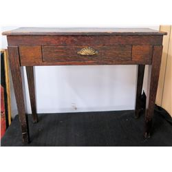 Wooden Entry Table w/ Front Drawer & Shell Handle
