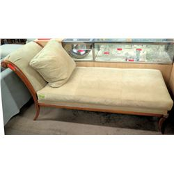 Wood Chaise Lounge w/ Beige Upholstery & Throw Pillow