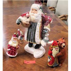 Qty 3 Christmas Santa Figurines