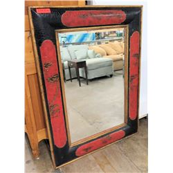 "Asian Black Red Framed Wall Mirror 37"" x 51"""