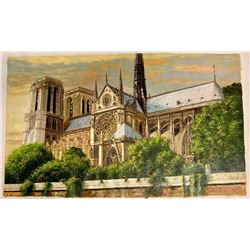 Magnificent Original Painting of The Historic Notre Dame Cathedral