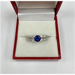 Ladies 2.62 Carat Deep Blue Sapphire with 925 Sterling Silver Ring