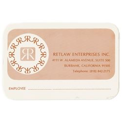 Retlaw Enterprises Employee Identification Card.