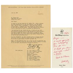 Pair of Letters from Marty Sklar to Harper Goff.