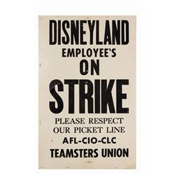 Disneyland on Strike Picket Sign.