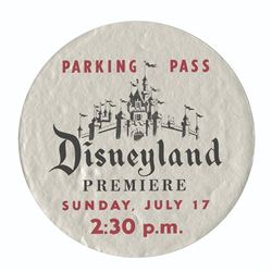 Disneyland Opening Day Parking Pass.