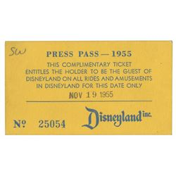 Signed 1955 Disneyland Press Pass Ticket.