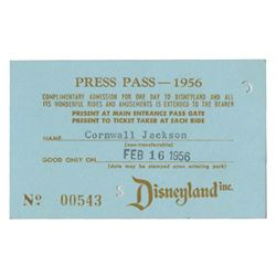 1956 Disneyland Press Pass.