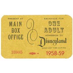 1958-59 Buena Vista Complimentary Disneyland Ticket.