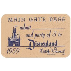 1959 Disneyland Main Gate Pass.