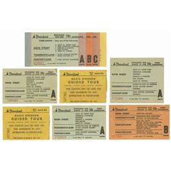 Set of (7) 1950s Disneyland Tickets.