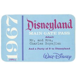 1967 Disneyland Main Gate Pass.