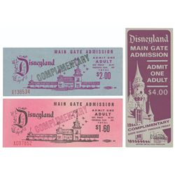 Set of (3) Vintage Disneyland Complimentary Passports.