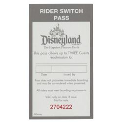 Disneyland Rider Switch Pass Book.