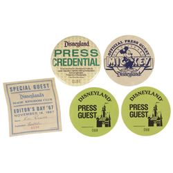Collection of (5) Disneyland Press Badges.