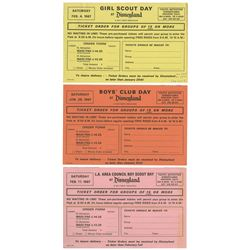 Set of (3) Day at Disneyland Ticket Order Forms.
