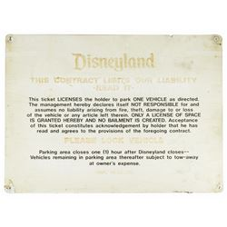 Disneyland Parking Lot Liability Contract Sign.