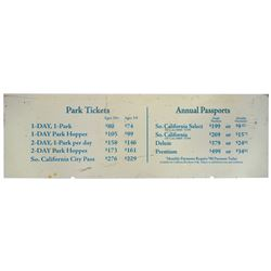 Ticket Booth Prices Sign.