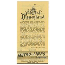 Disneyland Metro-Lines Brochure.