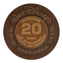 Magic Kingdom Club 20 Year Anniversary Plaque.