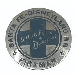 Santa Fe & Disneyland R.R. Fireman Badge.