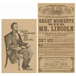 Great Moments with Mr. Lincoln Brochure & Gate Flyer.