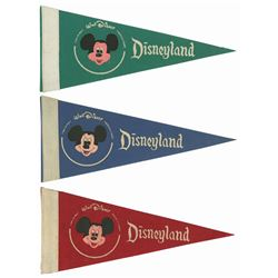 Group of (3) Disneyland Opening Day Pennants.