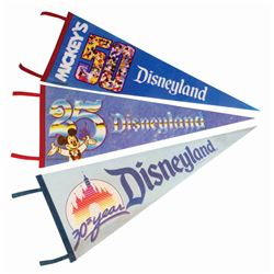 Set of (3) Disneyland Anniversary Pennants.