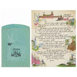 Disneyland Souvenir Letter & Tinker Bell Gift Bag.