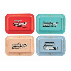 Set of (4) Main Street Vehicle Tin Trays.