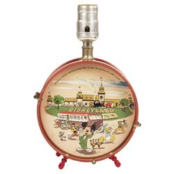Disneyland Tin Litho Drum Lamp.