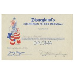 Disneyland Bicentennial School Program Diploma.