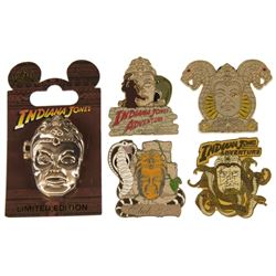 Set of (5) Indiana Jones Adventure Pins.