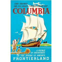 Original Sailing Ship Columbia Attraction Poster.