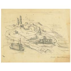 Original Big Thunder Mountain Clem Hall Concept Art.