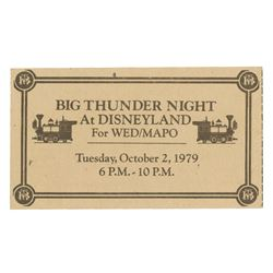 """Big Thunder Night"" WED/MAPO Ticket."
