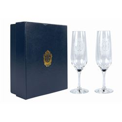Pair of Club 33 Member Gift Champagne Flutes.