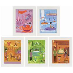 Set of (5) Shag Lands of Disneyland Prints.