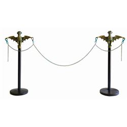 Pair of Haunted Mansion Bat Stanchion Replicas.